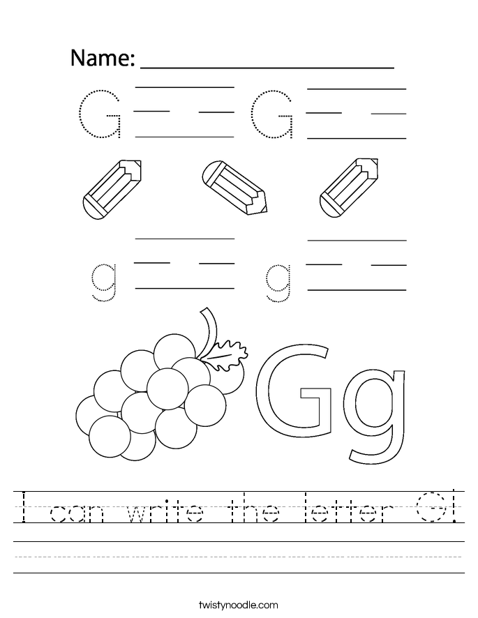 I can write the letter G! Worksheet