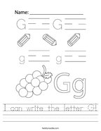 I can write the letter G Handwriting Sheet