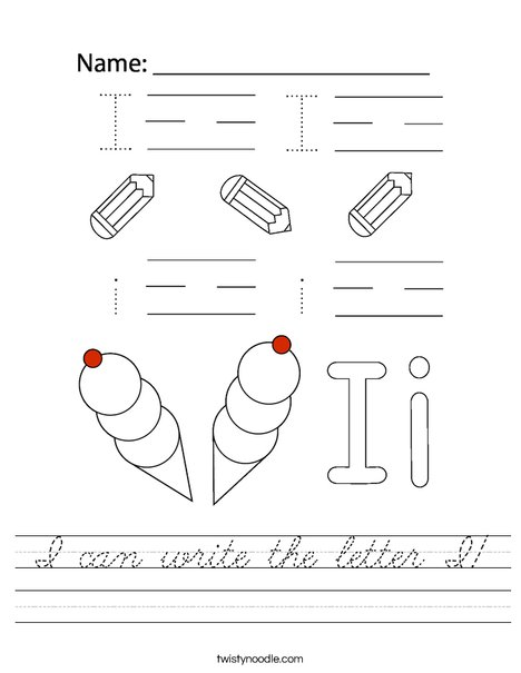 I can write the letter I! Worksheet