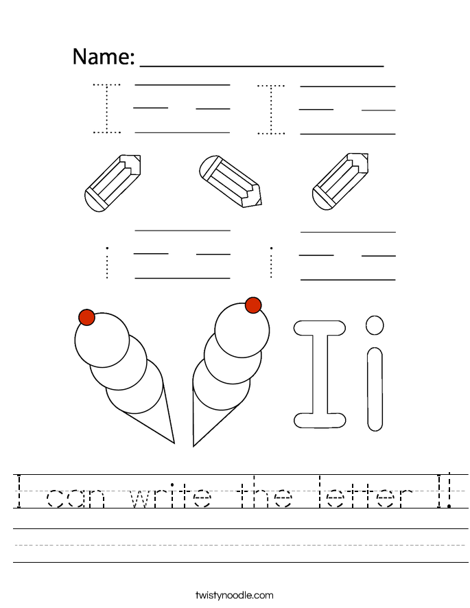 I can write the letter I! Worksheet