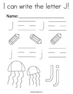 I can write the letter J Coloring Page
