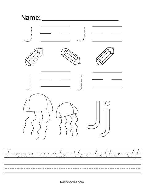 I can write the letter J! Worksheet