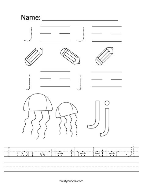 I can write the letter J! Worksheet