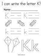 I can write the letter K Coloring Page