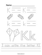 I can write the letter K Handwriting Sheet