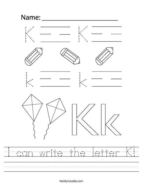 I can write the letter K! Worksheet