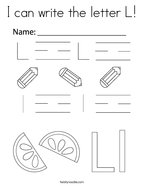 I can write the letter L Coloring Page