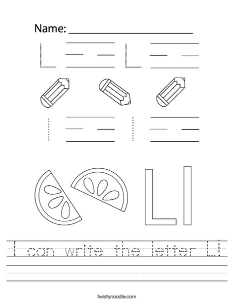 I can write the letter L! Worksheet