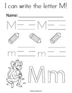 I can write the letter M Coloring Page