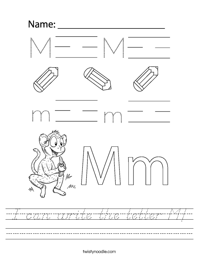I can write the letter M! Worksheet