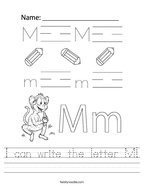 I can write the letter M Handwriting Sheet