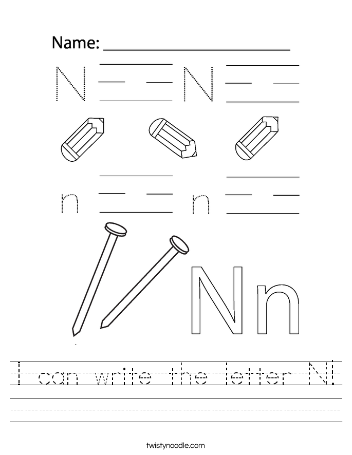 I can write the letter N! Worksheet