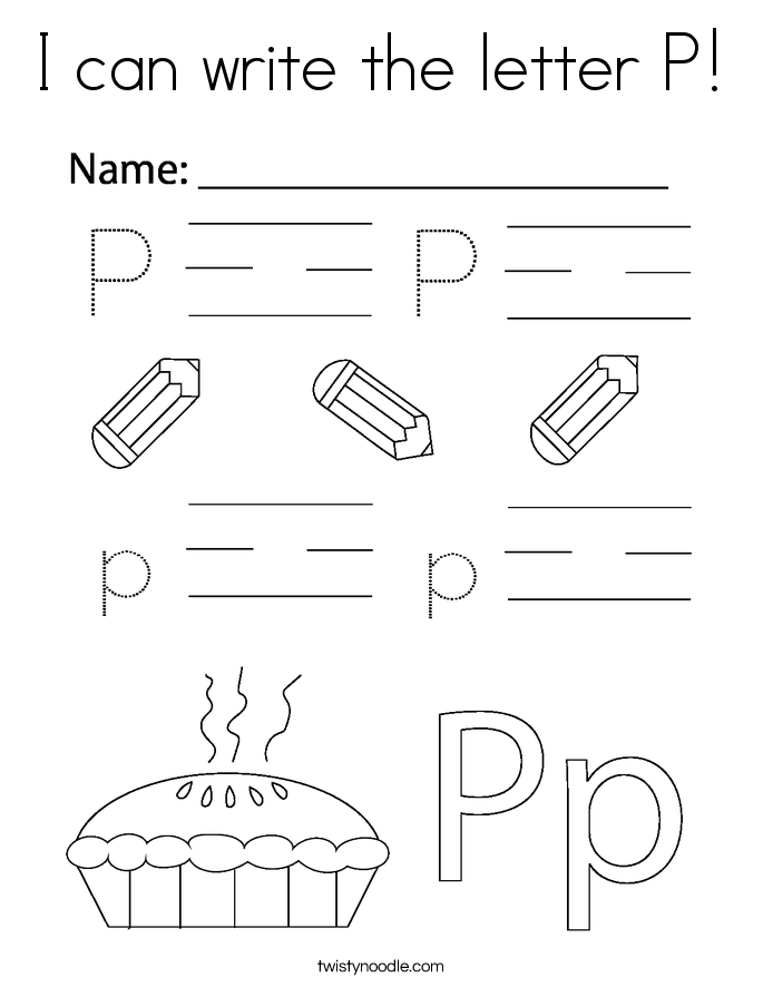 I can write the letter P! Coloring Page