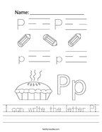 I can write the letter P Handwriting Sheet