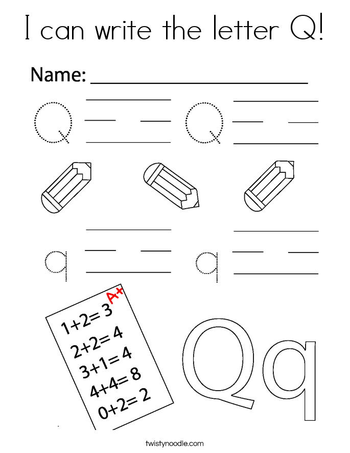 I can write the letter Q! Coloring Page