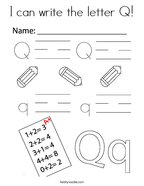 I can write the letter Q Coloring Page