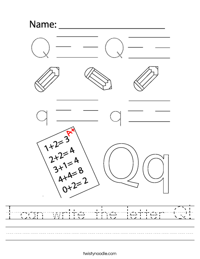 I can write the letter Q! Worksheet