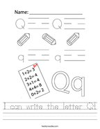 I can write the letter Q Handwriting Sheet