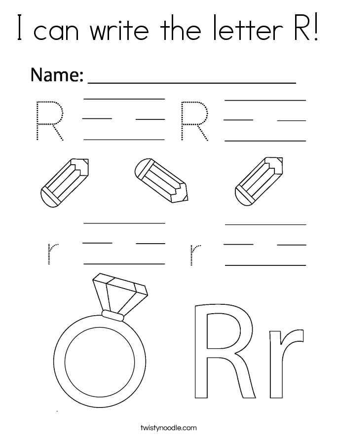 I can write the letter R! Coloring Page