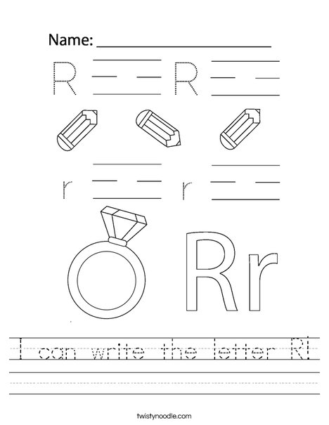 I can write the letter R! Worksheet