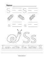 I can write the letter S Handwriting Sheet