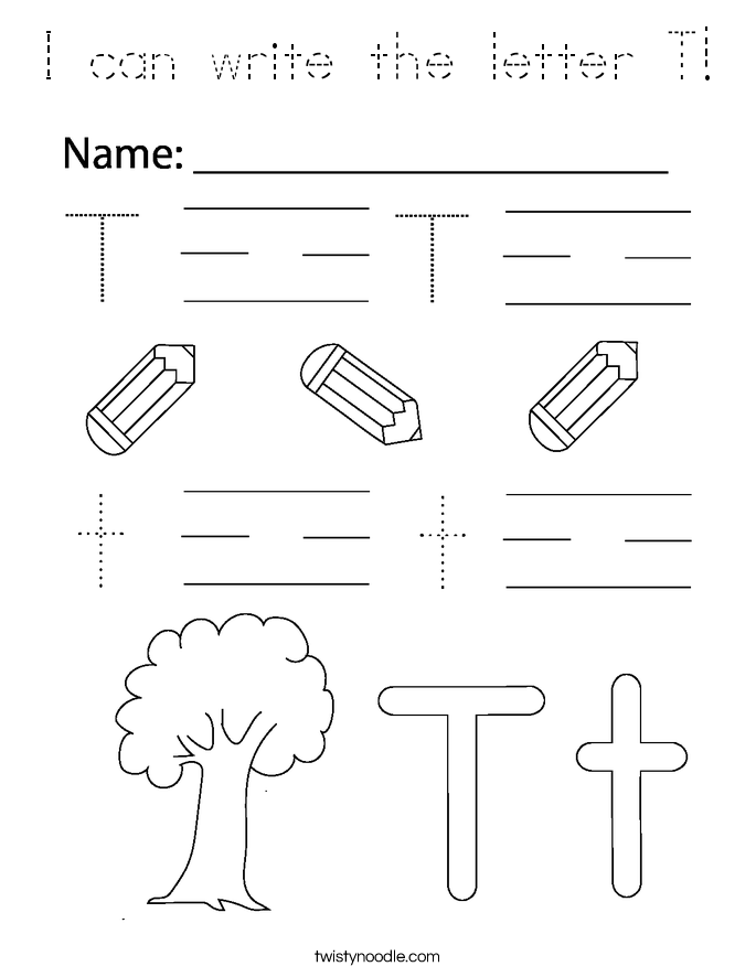I can write the letter T! Coloring Page