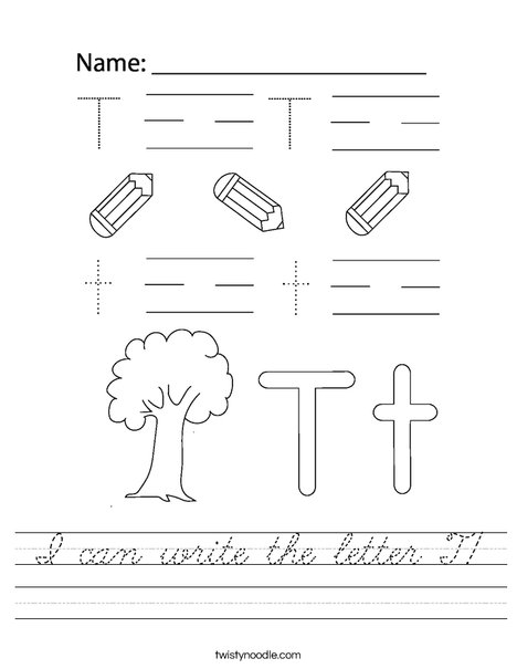 I can write the letter T! Worksheet