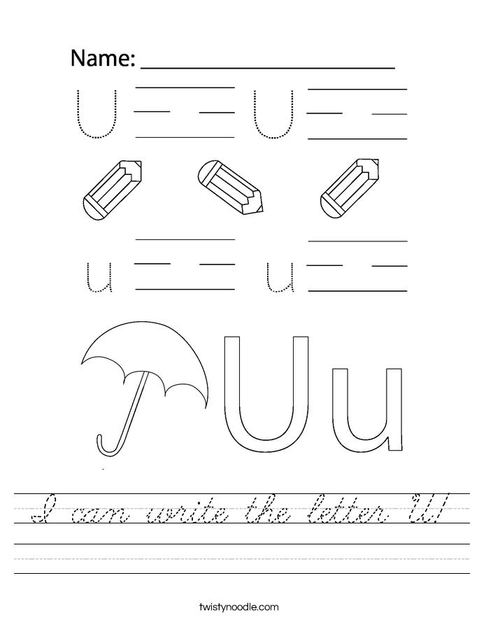 I can write the letter U! Worksheet