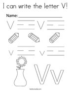 I can write the letter V Coloring Page