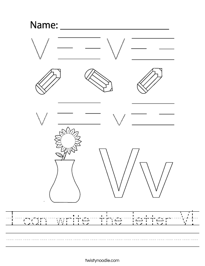I can write the letter V! Worksheet