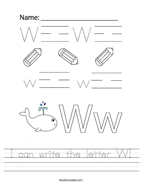 I can write the letter W! Worksheet