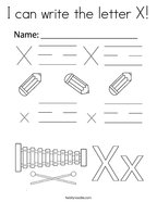 I can write the letter X Coloring Page
