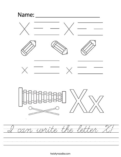 I can write the letter X! Worksheet