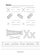I can write the letter X Handwriting Sheet