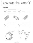 I can write the letter Y Coloring Page