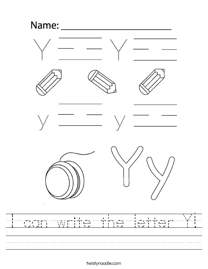 I can write the letter Y! Worksheet