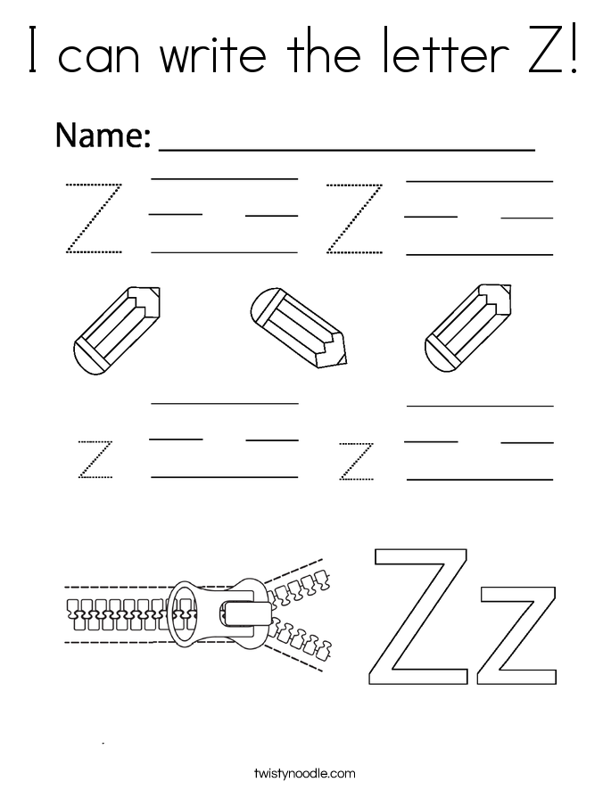 I can write the letter Z! Coloring Page