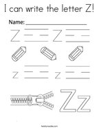 I can write the letter Z Coloring Page