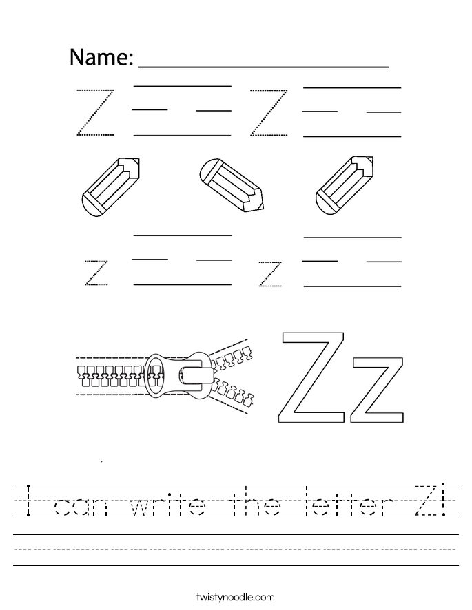 I can write the letter Z! Worksheet
