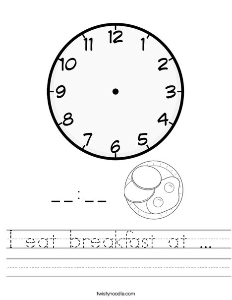 I eat breakfast at ...  Worksheet