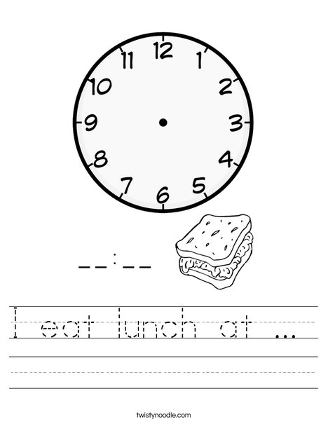 I eat lunch at ...  Worksheet