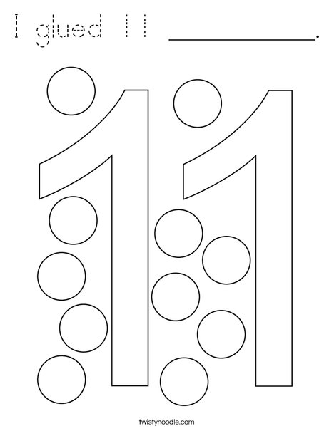 I glued 11 __________. Coloring Page