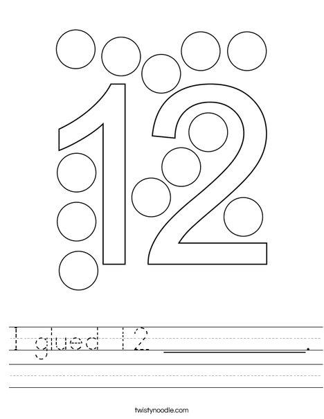 I glued 12 __________. Worksheet