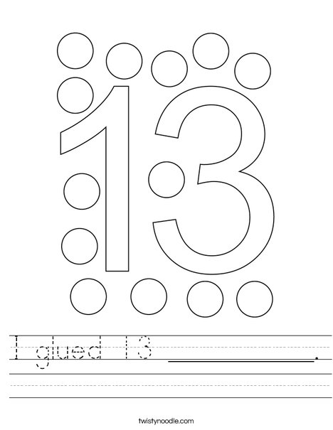 I glued 13 __________. Worksheet