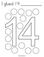 I glued 14 __________ Coloring Page