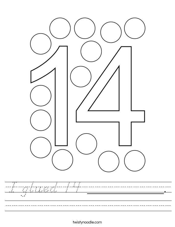 I glued 14 __________. Worksheet