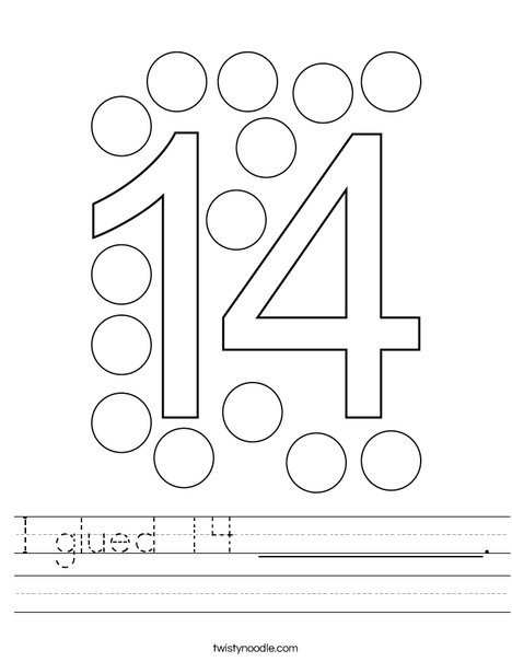 I glued 14 __________. Worksheet