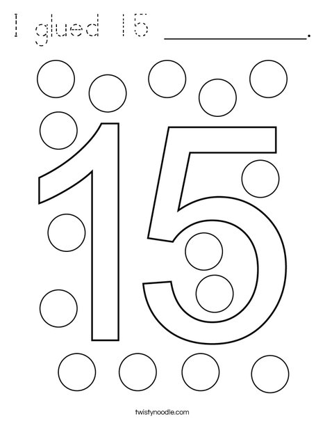 I glued 15 __________. Coloring Page