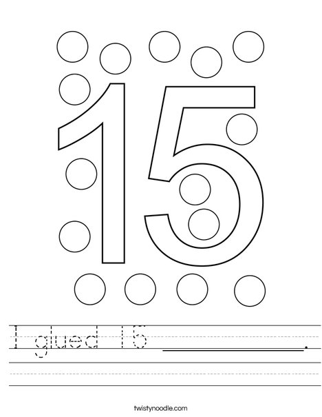 I glued 15 __________. Worksheet