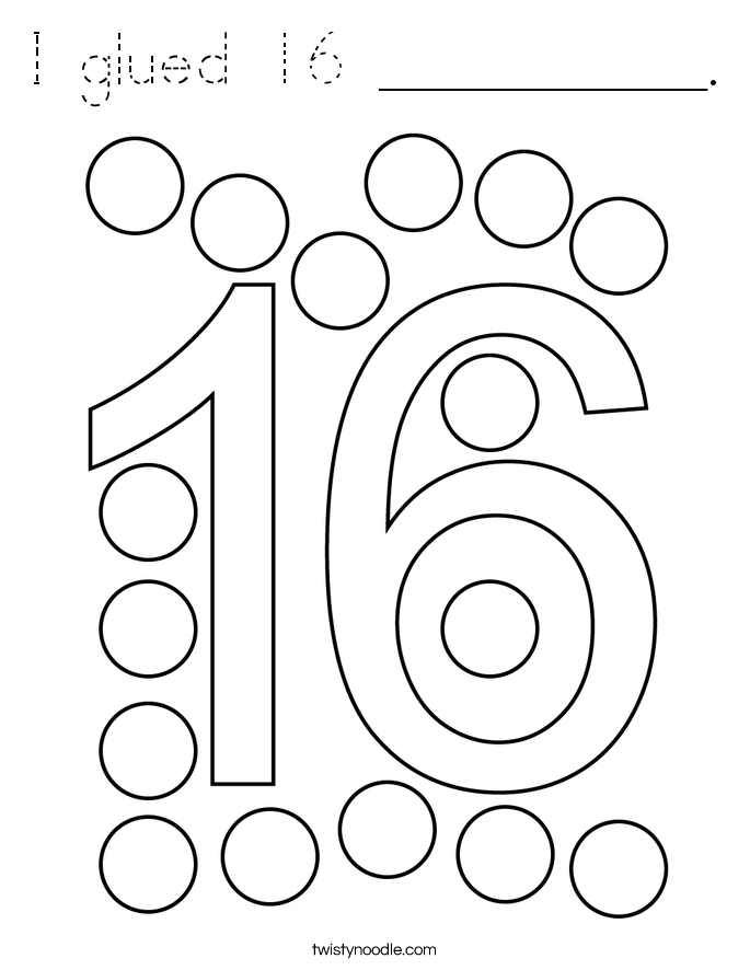 I glued 16 __________. Coloring Page